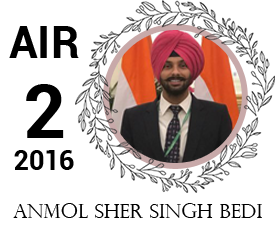 anmol sher singh bedi - vajirao institute 2nd Rank UPSC IAS Topper 2016